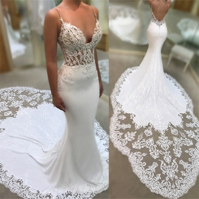 Sexy Mermaid Spaghetti Straps Wedding Dresses | 2020 Lace Open Back Bridal Gowns EN0025_3
