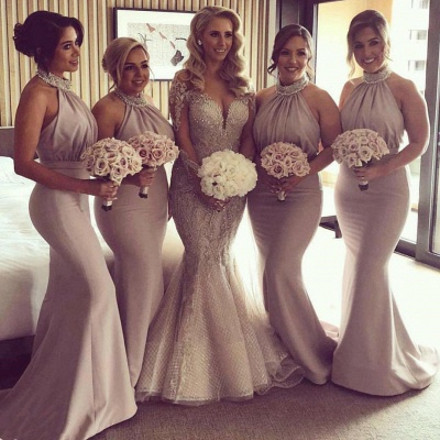 Halter Open Back Mermaid Bridesmaid Dresses Cheap | Sexy Sleeveless Cheap Maid of Honor Dresses 2020_3