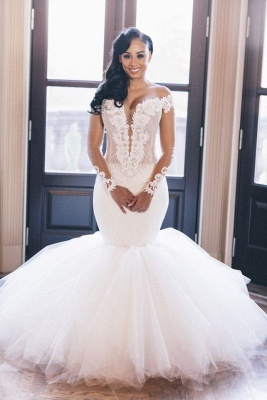 Off The Shoulder Mermaid Wedding Dresses Cheap | Lace Appliques Elegant Long Sleeve Bridal Gowns