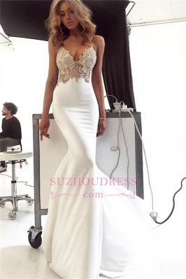 Elegant Spaghetti-Straps Appliques Bridal Gown | Sexy Backless Mermaid Wedding Dress bc2004_3