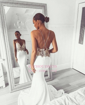 Elegant Spaghetti-Straps Appliques Bridal Gown | Sexy Backless Mermaid Wedding Dress bc2004_2