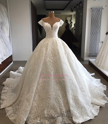 Marvelous Off-the-shoulder Cap-Sleeves V-neck Appliques Wedding Dresses_4