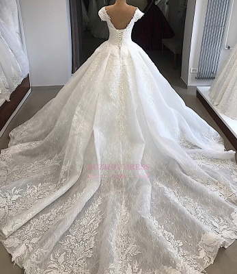 Marvelous Off-the-shoulder Cap-Sleeves V-neck Appliques Wedding Dresses_2