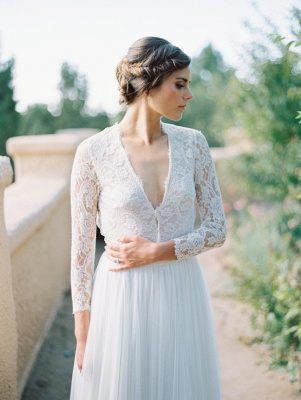V-Neck Lace Long Sleeve Vintage Bridal Gown Latest Floor Length Custom Made Wedding Dress_1