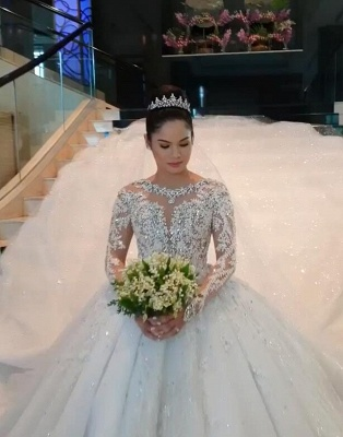 Unique Ball Gown Wedding Dress Long sleeves Royal White Bridal Gowns On Sale_2