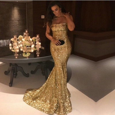 Sparkle Gold Sequins Mermaid Evening Gowns Cheap Sexy Strapless Prom Dresses 2020 FB0164_3