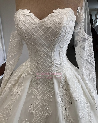 Long-Sleeves Appliques Charming Sweetheart Lace Jewel Wedding Dresses_4