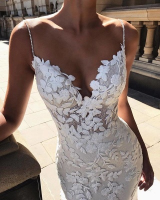 Sexy Spaghetti-Straps Lace Appliques Wedding Dress Mermaid Bridal Gowns_2