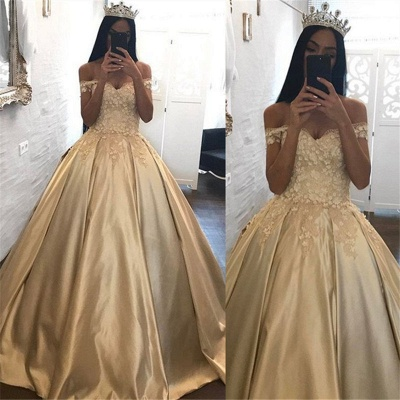 Off The Shoulder Champagne Gold Ball Gown Evening Dress Appliques 2020 Quinceanera Dresses FB0212_3