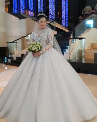 Unique Ball Gown Wedding Dress Long sleeves Royal White Bridal Gowns On Sale_5
