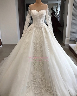 Long-Sleeves Appliques Charming Sweetheart Lace Jewel Wedding Dresses_3