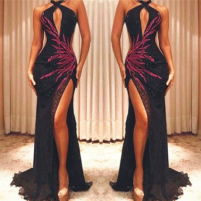 Halter Sexy Black Sequins Cheap Prom Dresses 2020 | Side Slit Fuchsia Appliques Sleeveless Evening Gowns_3