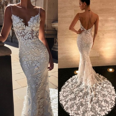 Sexy Spaghetti-Straps Lace Appliques Wedding Dress Mermaid Bridal Gowns_4