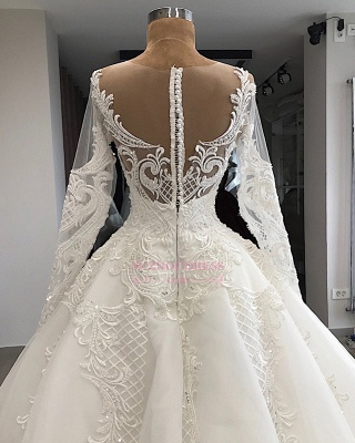 Long-Sleeves Appliques Charming Sweetheart Lace Jewel Wedding Dresses_2