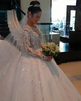 Unique Ball Gown Wedding Dress Long sleeves Royal White Bridal Gowns On Sale_4