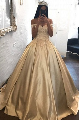 Off The Shoulder Champagne Gold Ball Gown Evening Dress Appliques 2020 Quinceanera Dresses FB0212_1