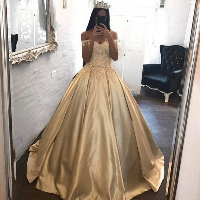 Off The Shoulder Champagne Gold Ball Gown Evening Dress Appliques 2020 Quinceanera Dresses FB0212_4