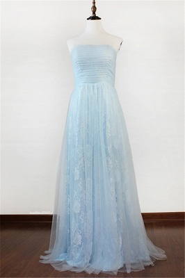 Ice Blue Strapless Lace Applique Prom Dresses 2020 Elegant Sweep Train Sheath Homecoming Dresses_1