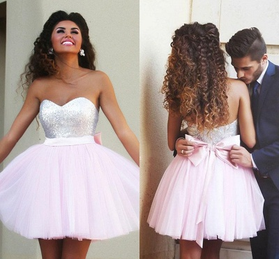 New Arrival Cute Pink Sweetheart Mini Homecoming Dress Sequined Bowknot 2020 Short Cocktail Dress_3