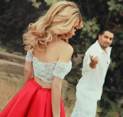 Bright Red Two Piece Evening Dresses 2020 Satin White Lace Prom Dress MH059_3