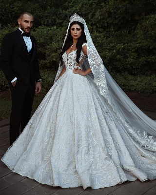 Elegant Lace Straps Wedding Dresses | 2020 Luxury Open Back Sleeveless Bridal Gowns_1