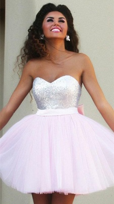 New Arrival Cute Pink Sweetheart Mini Homecoming Dress Sequined Bowknot 2020 Short Cocktail Dress_1