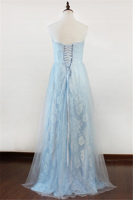 Ice Blue Strapless Lace Applique Prom Dresses 2020 Elegant Sweep Train Sheath Homecoming Dresses_2