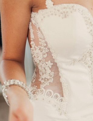 Sexy 2020 Summer Bridal Gowns Spaghetti Straps Lace Beading Open Back New Wedding Dresses_5