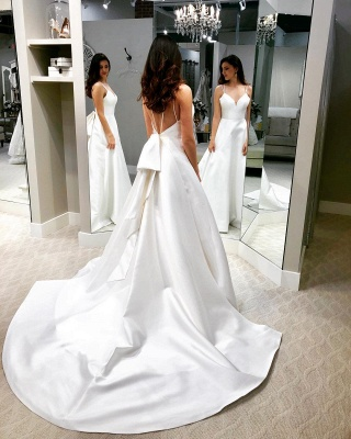 Chic White A-line Cheap Wedding Dresses | Spaghetti Straps Open Back Bridal Gowns_2