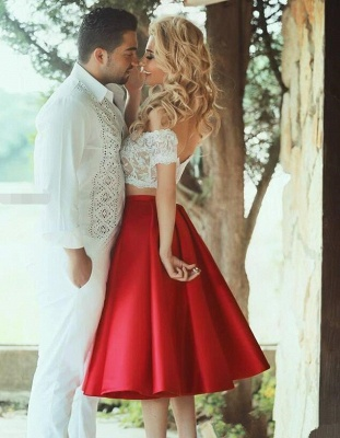 Bright Red Two Piece Evening Dresses 2020 Satin White Lace Prom Dress MH059_1