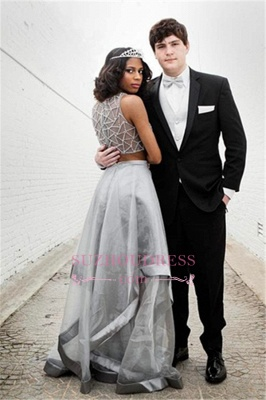2020 Silver Two-Piece Prom Dress | Sleeveless A-line Crystal Evening Dresses_2