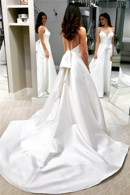 Chic White A-line Cheap Wedding Dresses | Spaghetti Straps Open Back Bridal Gowns_1