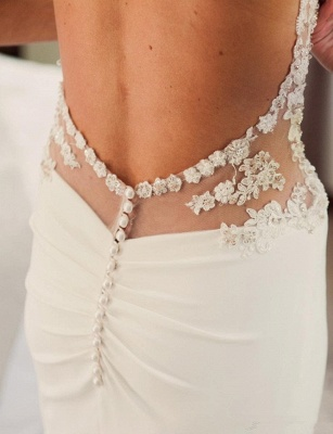 Sexy 2020 Summer Bridal Gowns Spaghetti Straps Lace Beading Open Back New Wedding Dresses_6