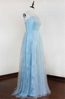 Ice Blue Strapless Lace Applique Prom Dresses 2020 Elegant Sweep Train Sheath Homecoming Dresses_3
