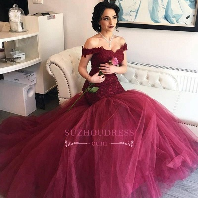 Off The Shoulder Burgundy Lace Evening Gowns Tulle Mermaid 2020 Prom Dresses BA4286_2