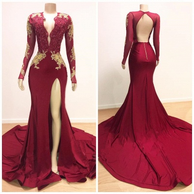 Open Back V-neck Long Sleeve Prom Dresses 2020 | Gold Lace Appliques Sexy Slit Evening Gowns BC0534_3