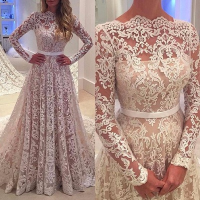 Elegant Long Sleeves Lace Evening Gowns Backless Bowknot A-Line Wedding Dress 2020 BA3858_2