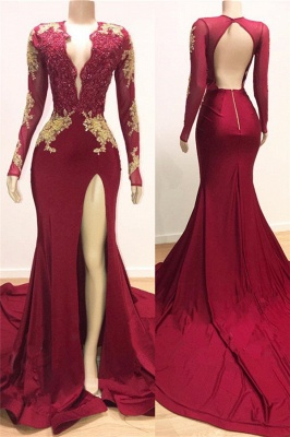 Open Back V-neck Long Sleeve Prom Dresses 2020 | Gold Lace Appliques Sexy Slit Evening Gowns BC0534_1