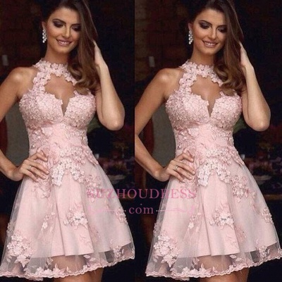 Cheap A-Line Halter Appliques Pink Tulle Short Homecoming Dress BA3643_3