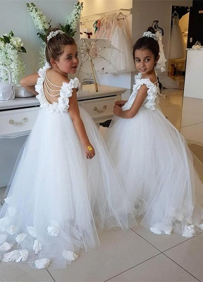 Elegant White Open Back Flower Girl Dresses | Sleeveless Flowers Tulle Pageant Dress 2020_1