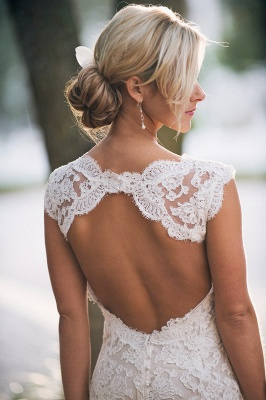 Elegant Full Lace Wedding Dress 2020 Open Back Sleeveless Summer Wedding Gowns_3