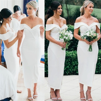 Off The Shoulder Sexy Bridesmaid Dresses 2020 | Front Split Cheap White Maid of Honor Dress BC0180_3