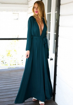 Long Sleeve Plunging Neck Summer Dress Chiffon Slit Long Party Gowns BA4579_5