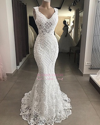 Lace Attractive Appliques V-Neck Mermaid Sleeveless Wedding Dresses_2