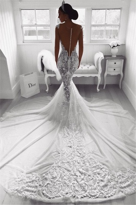 Sexy Mermaid Straps Wedding Dresses 2020 | Sheer Tulle Sleeveless Appliques Bridal Gowns_3
