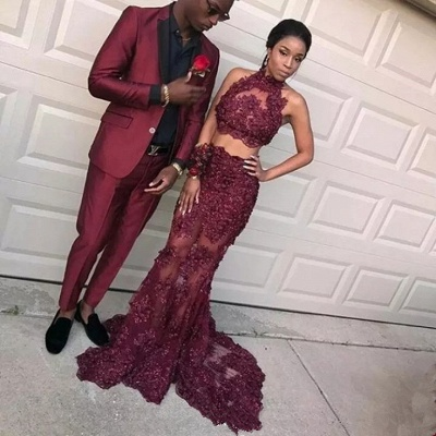 Burgundy Two Pieces Tulle Appliques Prom Dresses 2020 Mermaid Sleeveless Evening Dresses BA8109_3