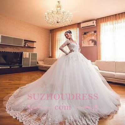 Luxurious Long Sleeves Ball Gown Wedding Dresses Lace Appliques Tulle Wedding Gowns 2020 BA3182_3