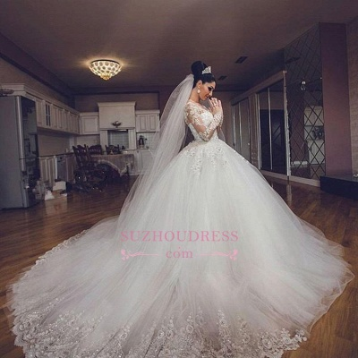 Luxurious Long Sleeves Ball Gown Wedding Dresses Lace Appliques Tulle Wedding Gowns 2020 BA3182_4