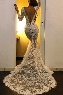 Long Sleeve Lace Formal Evening Dresses Cheap | Sexy Slit Mermaid Prom Dresses with Court Train BC2581_2