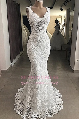 Lace Attractive Appliques V-Neck Mermaid Sleeveless Wedding Dresses_1